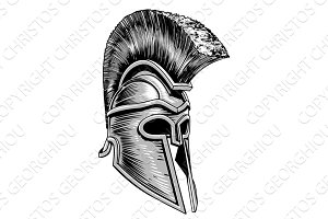Ancient Greek Spartan Warrior Gladiator Helmet