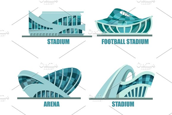 Exterior View On Soccer Or Football Stadium