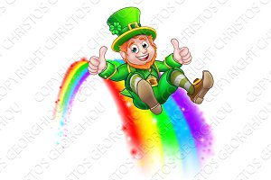 St Patricks Day Leprechaun Sliding on Rainbow