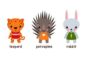 Vector cartoon zoo animals