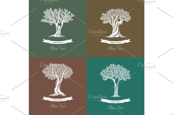 Set Of Different Natural Olive Oil Trees Logo