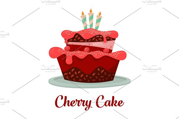 Dessert Food Or Cherry Cake With Candles