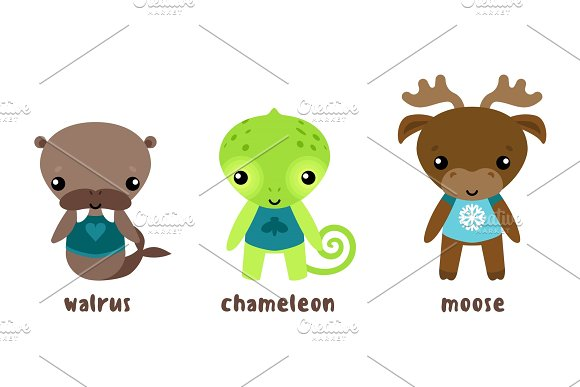 Animal Moose And Cartoon Chameleon Walrus