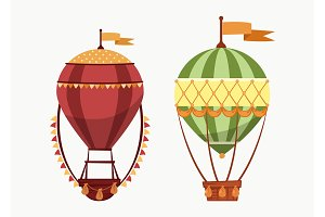 Hot air floating balloons icons isolated