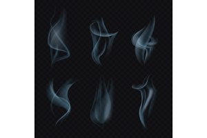 Cigarette smoke or mist on transparent background