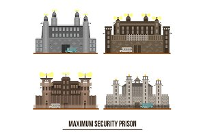 Entrance at maximum security prison with towers