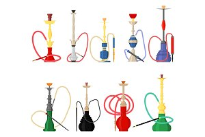 Set of hookah with pipe for smoking tobacco