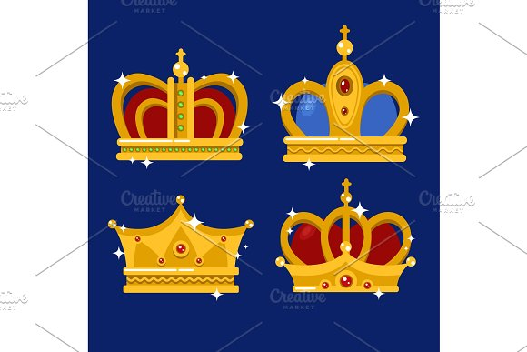 Set Of Gold King Crown Or Pope Tiara