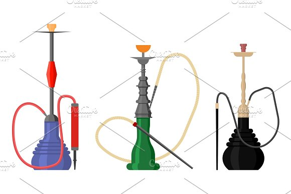 Set Of Hookah With Pipe For Tobacco Smoke