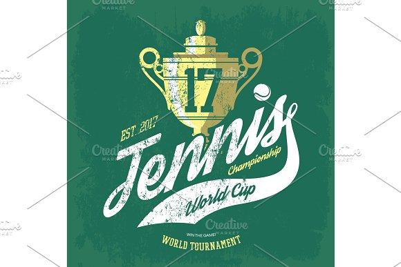 Tennis Cup Or Trophy And Flying Ball Banner