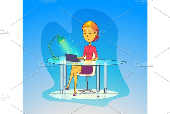 Woman Working At Office Secretary With Notebook
