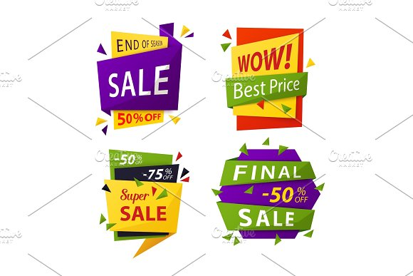 Sale Tag Or Vector Labels For Price Discount