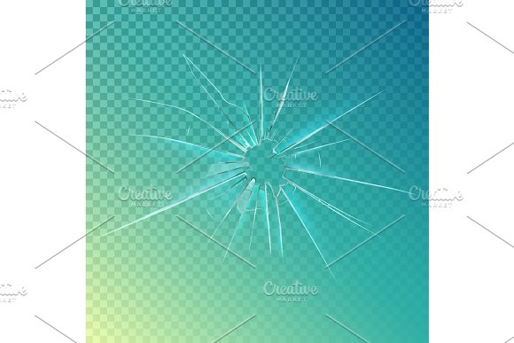Cracked Or Broken Shattered Glass Mirror