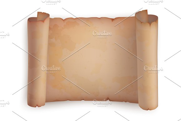 Paper Roll Or Horizontal Old Scroll Parchment