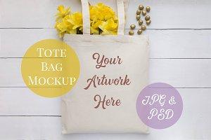 Tote Bag Mockup - yellow daffodils