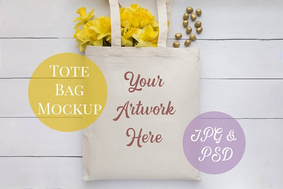 Tote Bag Mockup Yellow Daffodils