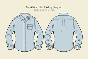 Men Oxford Shirt Clothing Template