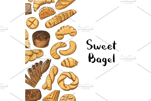 Vector Hand Drawn Colored Bakery Elements Illustration