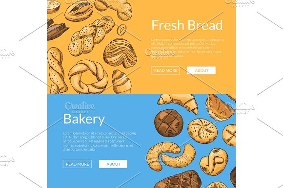 Vector Hand Drawn Colored Bakery Elements Web Banner Templates