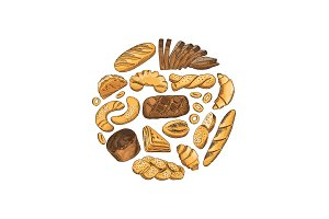 Vector circle hand drawn bakery elements illustration