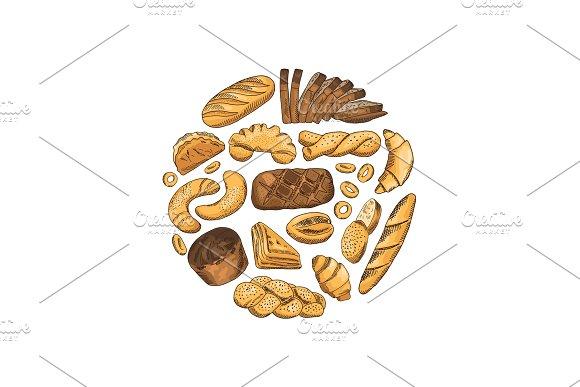 Vector Circle Hand Drawn Bakery Elements Illustration