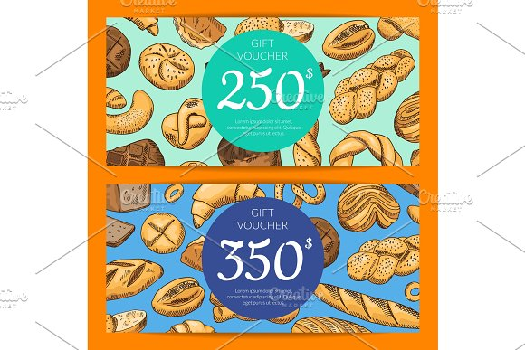 Vector Card With Hand Drawn Bakery