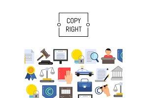Vector flat style copyright elements illustration