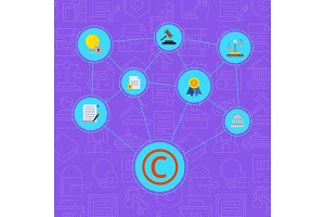 Vector flat style copyright elements infographic