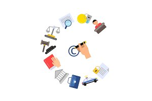Vector flat style copyright elements or icons