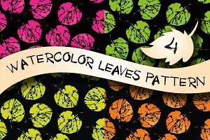 Set of 4 watercolor leaves patterns