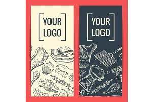 Vector banner or flyer templates with hand drawn meat