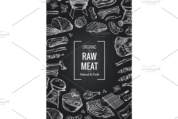 Vector Hand Drawn Monochrome Meat Elements