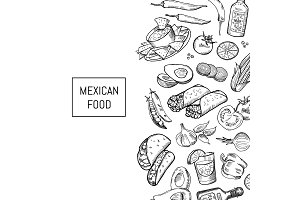 Vector sketched mexican food elements
