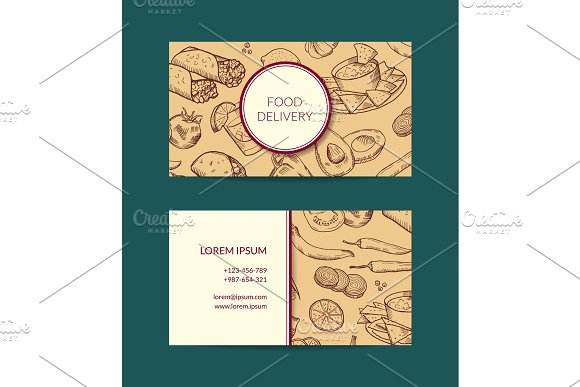 Vector Business Card Template For Restaurant Shop Or Cafe