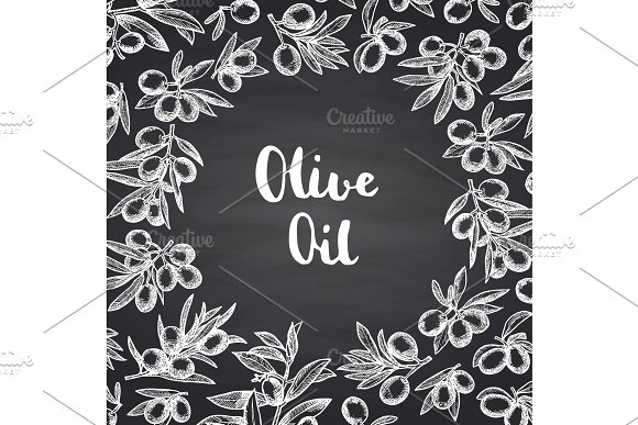 Vector Hand Drawn Olive Branches Background
