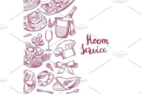 Vector Hand Drawn Restaurant Or Room Service Elements Background