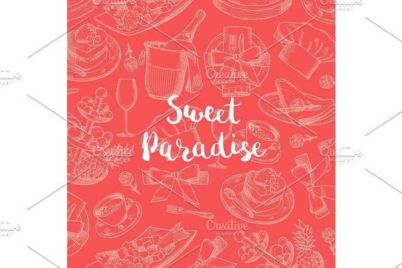 Vector Hand Drawn Restaurant Or Room Service Elements Background With Place For Text