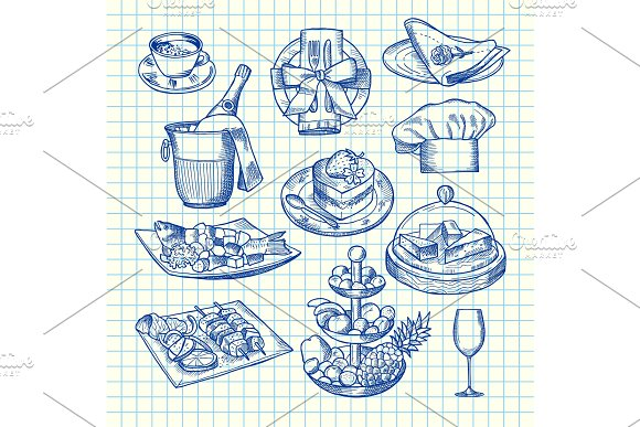 Vector Hand Drawn Restaurant Or Service Elements Set