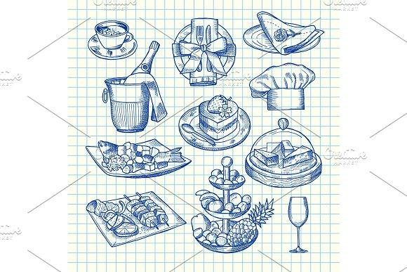 Vector Hand Drawn Restaurant Or Service Elements Set