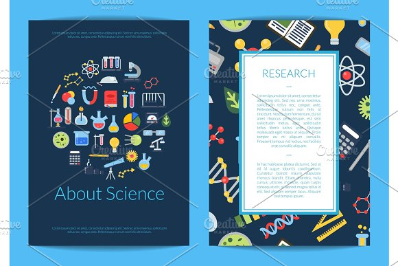 Vector Card Or Flyer Template With Flat Style Science Icons And Place For Text