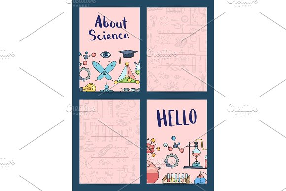 Vector Notes Or Card Templates Set With Science Or Chemistry