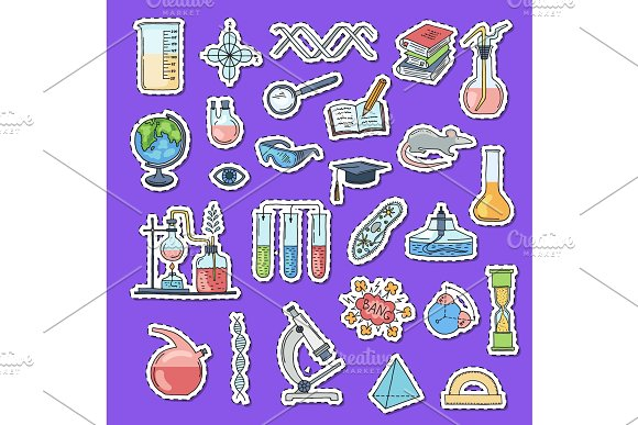 Vector Sketched Science Or Chemistry Elements Stickers With Shadows Set