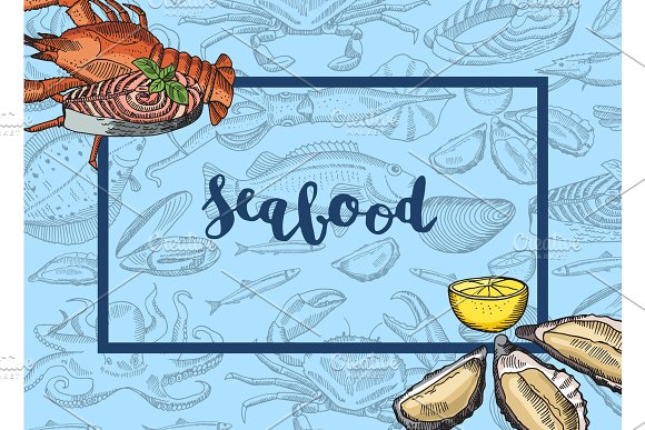 Vector Frame With Hand Drawn Seafood Elements