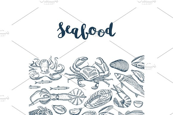 Vector Background Illustration With Hand Drawn Seafood Elements And Lettering