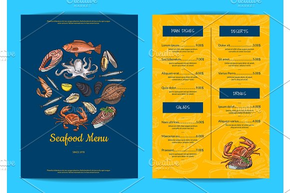 Vector Menu Template For Restaurant Shop Or Cafe With Hand Drawn Seafood Elements