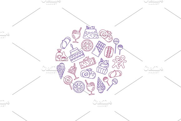 Vector Sweets Icons Illustration