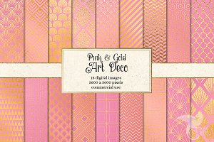 Pink and Gold Art Deco Backgrounds