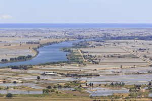Ebro river in Delta de l'Ebre