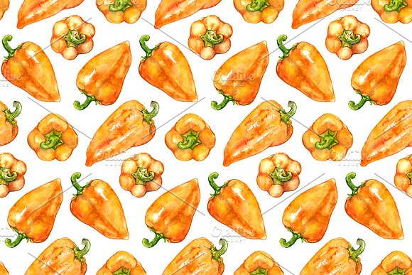 Watercolor Sweet Bell Pepper Pattern