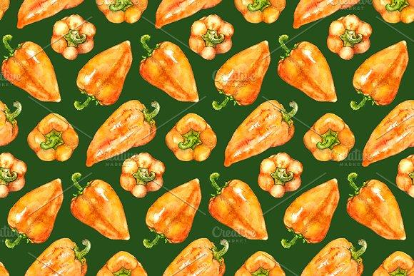 Watercolor Sweet Bell Pepper Pattern